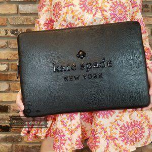 kate Spade Sienne Logo Laptop Case Black Leather